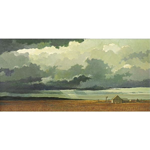 Eric Sloane 1910-1985 , Big Country #4 oil on masonite