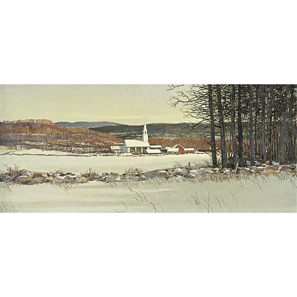 Eric Sloane 1910-1985 , Vermont December oil on board
