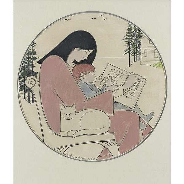 Will Barnet b. 1911 , Mother and Child Reading mixed media on paper