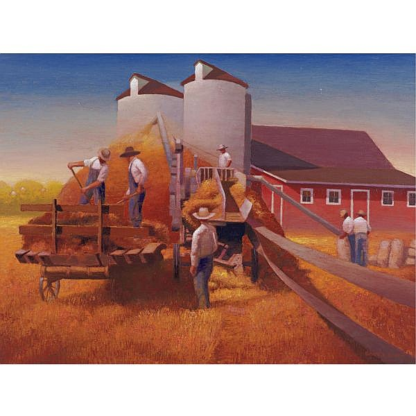 Gary Ernest Smith b. 1942 , Threshing Crew oil on canvas