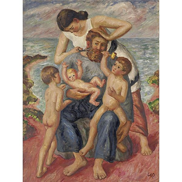 Waldo Peirce 1884-1970 , The Artist and His Family: Trimming Dad's Beard oil on canvas, unframed
