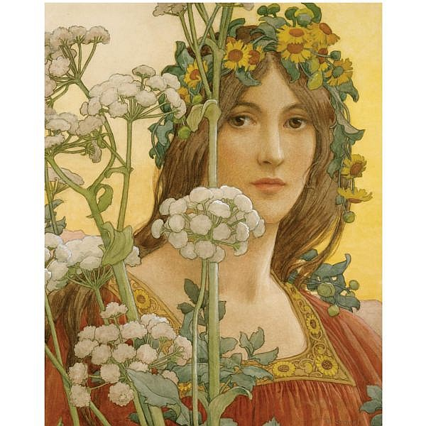 Elisabeth Sonrel , 1874-1953 our lady of the cow parsley watercolour with bodycolour over pencil