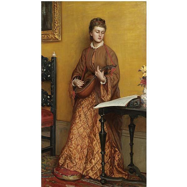 Valentine Cameron Prinsep R.A. , 1838-1904   the mandolin player oil on canvas
