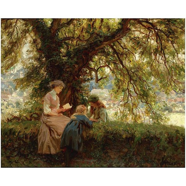 Frederick Stead , 1863-1940 a summer's day oil on canvas