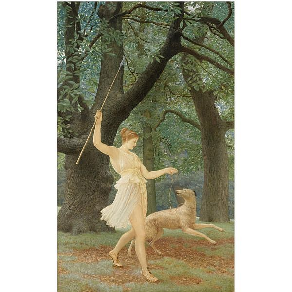 Henry Holiday , 1839-1927 diana or artemis, queen and huntress, chaste and fair (diana) watercolour heightened with bodycolour