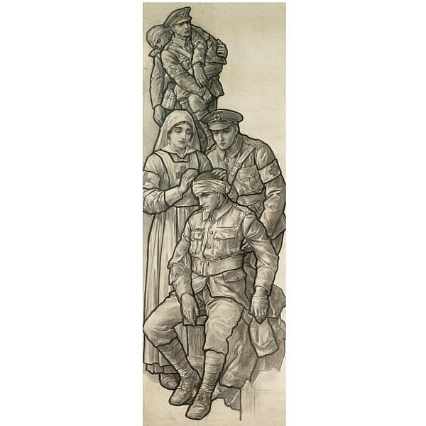 Richard Caton Woodville , 1856-1927 the british red cross, design for a stained glass window black chalk