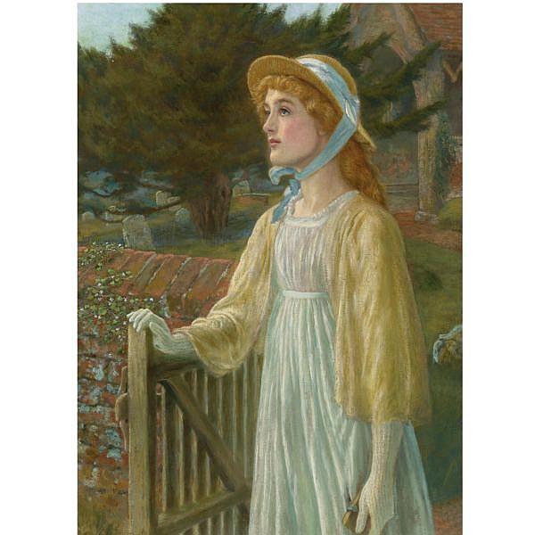 - Arthur Hughes , 1832-1915 at the church gate oil on canvas