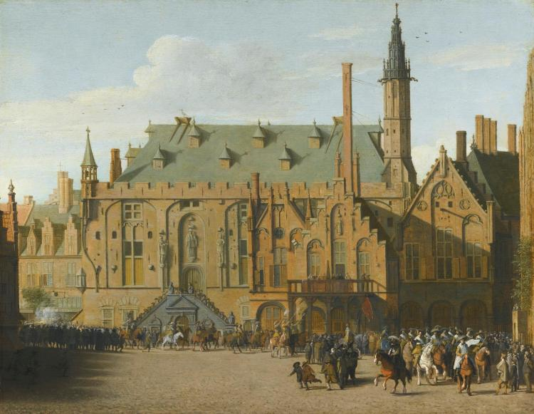 PIETER JANSZ. SAENREDAM | The Town Hall at Haarlem with the entry of Prince Maurits to replace the Governers in 1618