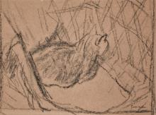 GWEN JOHN   Black Cat Seen from the Side, Seated in Wicker Chair