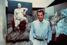 BRUCE BERNARD | Lucian Freud in his Studio with Two Paintings of Leigh Bowery, 1990