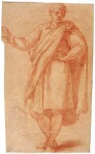 JACOPO CHIMENTI, CALLED JACOPO DA EMPOLI | Recto: Study of a young man wearing a cloak, his left hand on his hip and his right arm raised Verso: Study of a man wearing a hat and holding a sword in his left hand, with two