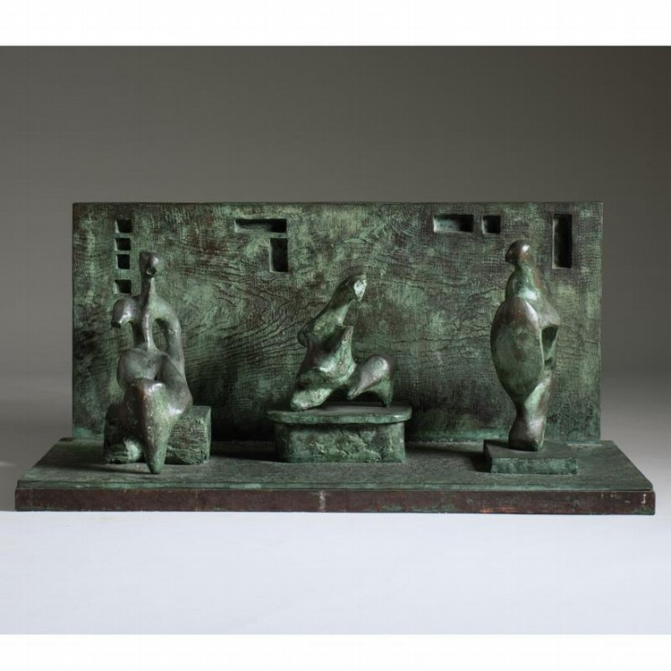 HENRY MOORE 1831-1895 THREE MOTIVES AGAINST WALL NO. 1