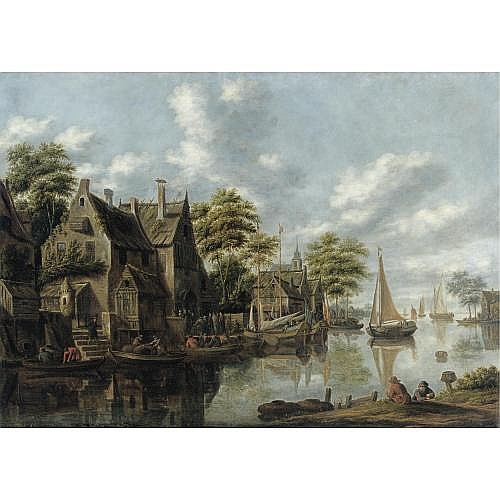 Thomas Heeremans Active in Haarlem 1660 - 1697 , A river Landscape with figures outside a tavern and yachts moored alngside a houses