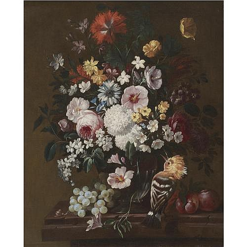 Philip van Kouwenbergh Amsterdam 1671 - 1729 , A still life with flowers in a glass vase with a hoopoe, plums and a bunch of grapes