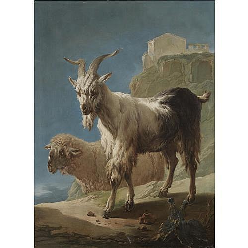 Philipp Peter Roos, called Rosa da Tivoli Frankfurt 1657 - 1706 Rome , A goat and a sheep in an Italianate landscape