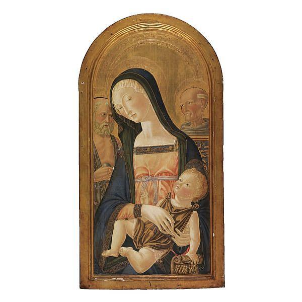Icilio Federico Joni Siena 1866-1946 , Madonna col il Bambino, San Girolamo e San Bernardino tempera su tavola, fondo oro tempera on panel, gold ground
