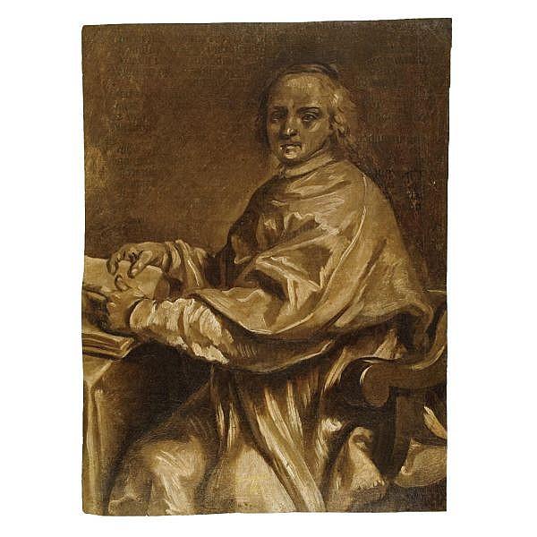 Attribuito a Luigi Crespi 1710-1779 , Ritratto di prelato olio su carta, su una pagina di libro probabilmente del secolo XVI