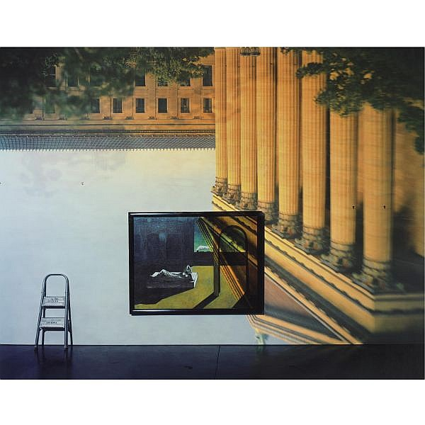Abelardo Morell , b. 1948 'camera obscura image of the philadelphia museum of art, east entrance in gallery #171 with a de chirico painting'