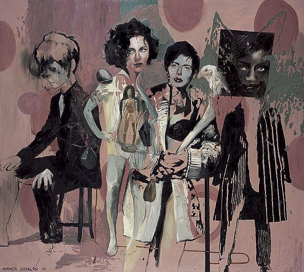 Winner Jumalon , b. 1984 Viva Farce oil on canvas