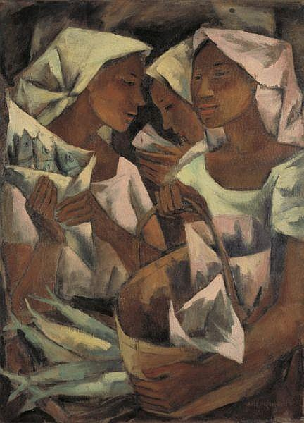 Anita Magsaysay-Ho , b. 1914 Tuyo Vendors (Dried Fish Vendors) oil on canvas