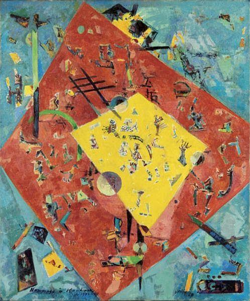 Macario Vitalis , 1898-1990 Hommage À Kandinsky oil on canvas