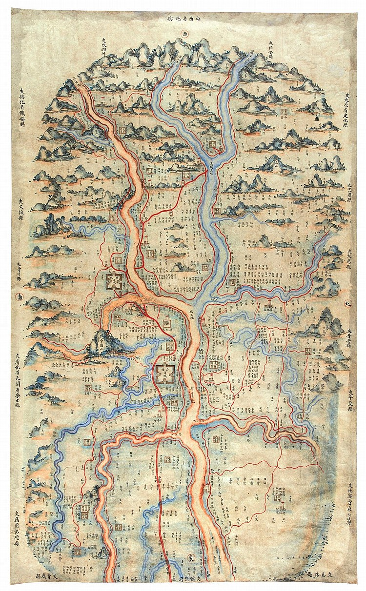 MANUSCRIPT MAP OF SHANGXI PROVINCE. SHANXI SHENG DIYU, 18/19TH CENT.
