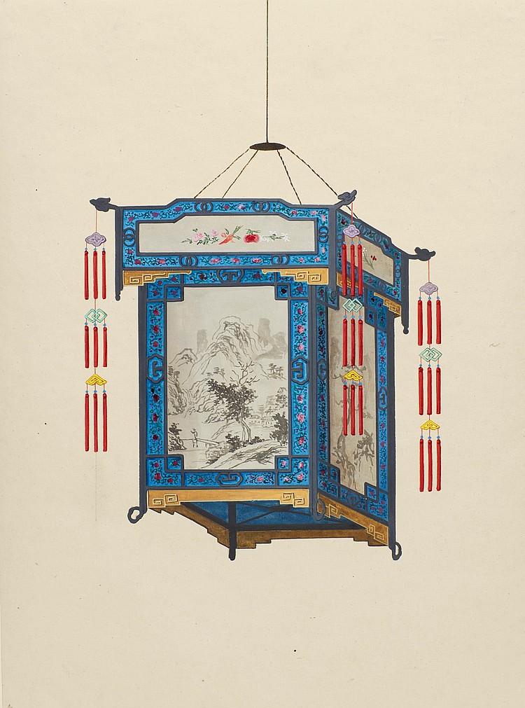 CHINESE LANTERNS. 12 GOUACHE WATERCOLOURS. CIRCA 1810