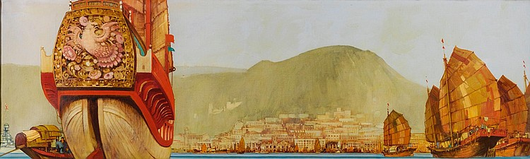 FRED TAYLOR, HONG KONG OIL ON CANVAS