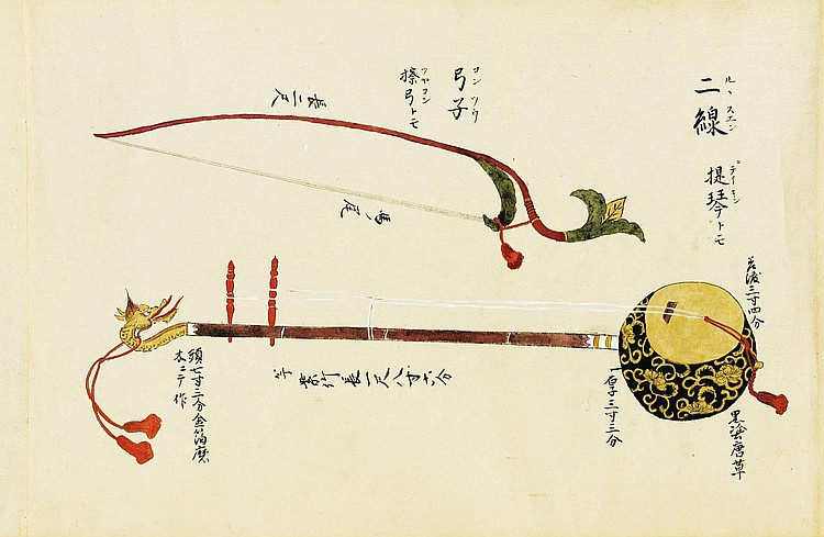 JAPANESE MUSICAL INSTRUMENTS. COLOURED HAND SCROLL, ILLUSTRATING ORIENTAL INSTRUMENTS, 1755