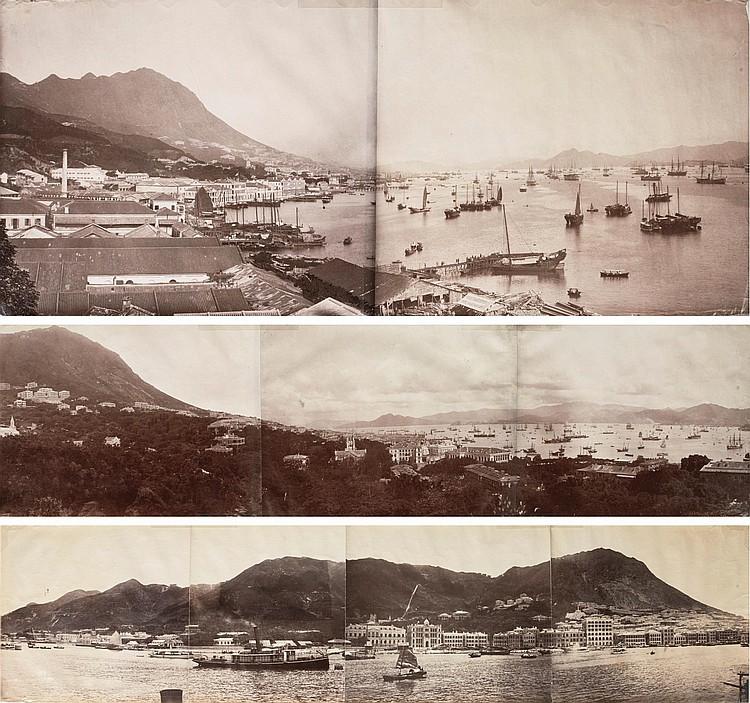 HONG KONG. THREE PHOTOGRAPH PANORAMAS, 1870S-C.1890