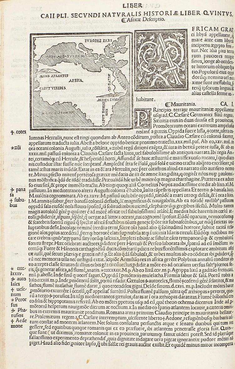 PLINIUS SECUNDUS, GAIUS (PLINY). NATURALIS HISTORIAE. VENICE, 1525, FOLIO