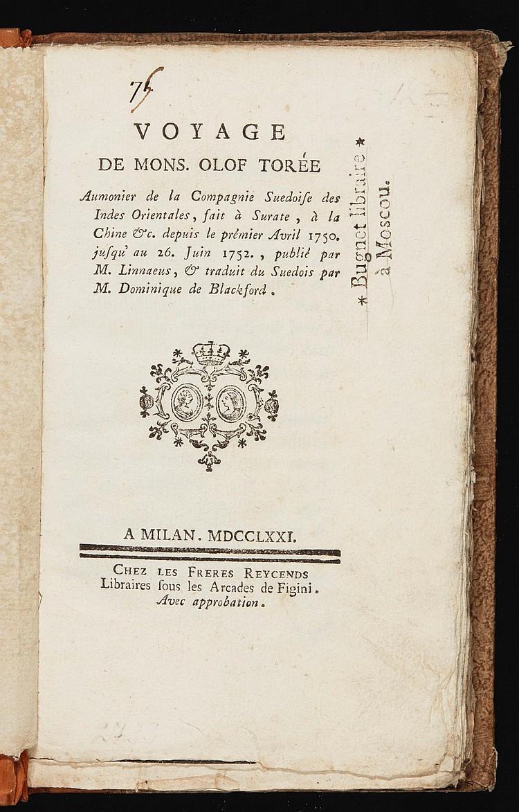 TORÉN, OLOF. VOYAGE DE MONSEIGNEUR OLOF TORÉE. 1771