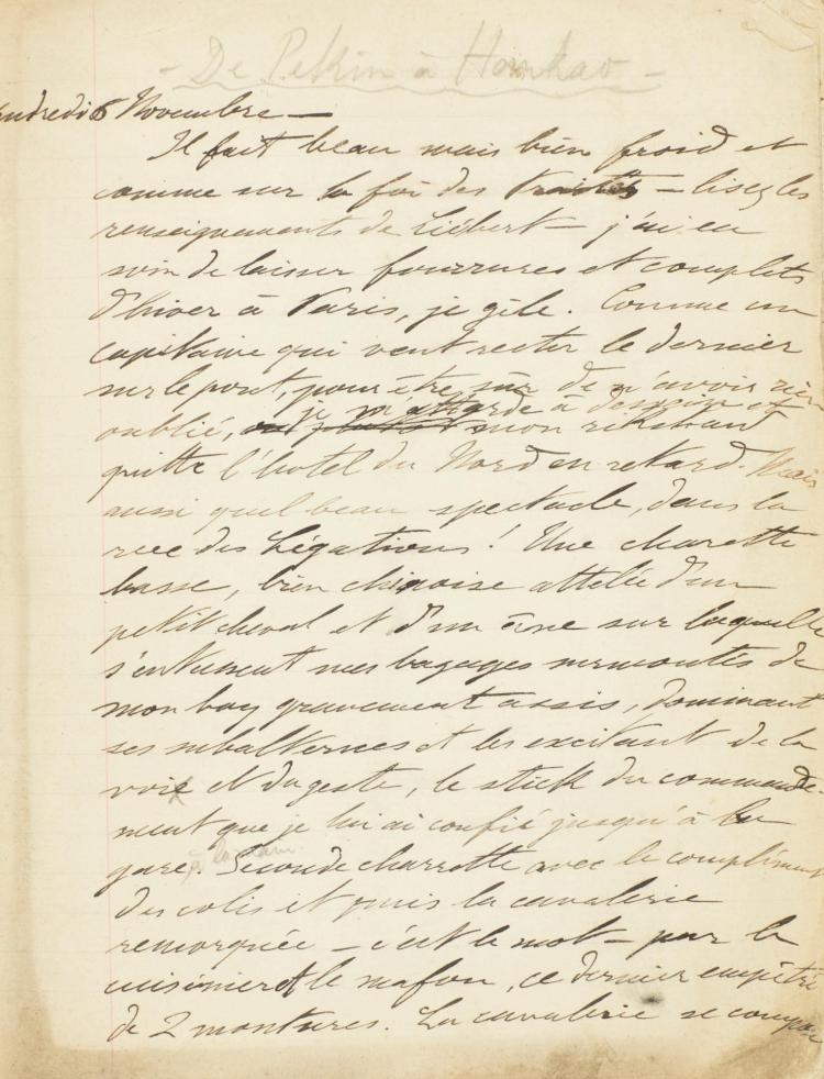 MANUSCRIPT ACCOUNT OF A JOURNEY FROM PEKING TO HANKOW. LATE C19TH/EARLY C20TH