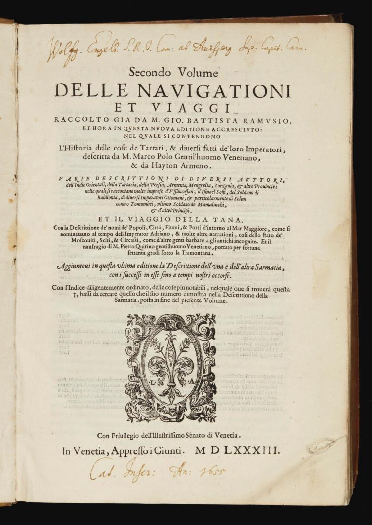 RAMUSIO, GIOVANNI BATTISTA. SECONDO VOLUME DELLE NAVIGATIONI. VENICE, 1583, VELLUM BINDING