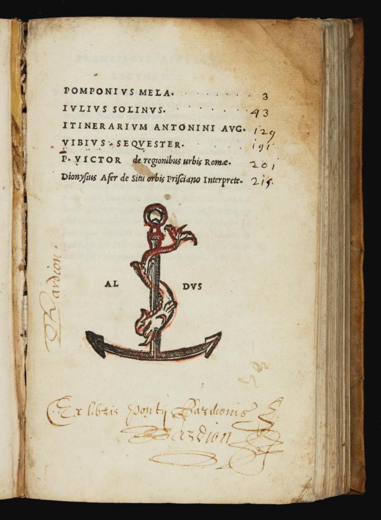 POMPONIUS MELA. DE SITU ORBIS. VENICE, ALDUS, 1518, VELLUM BINDING