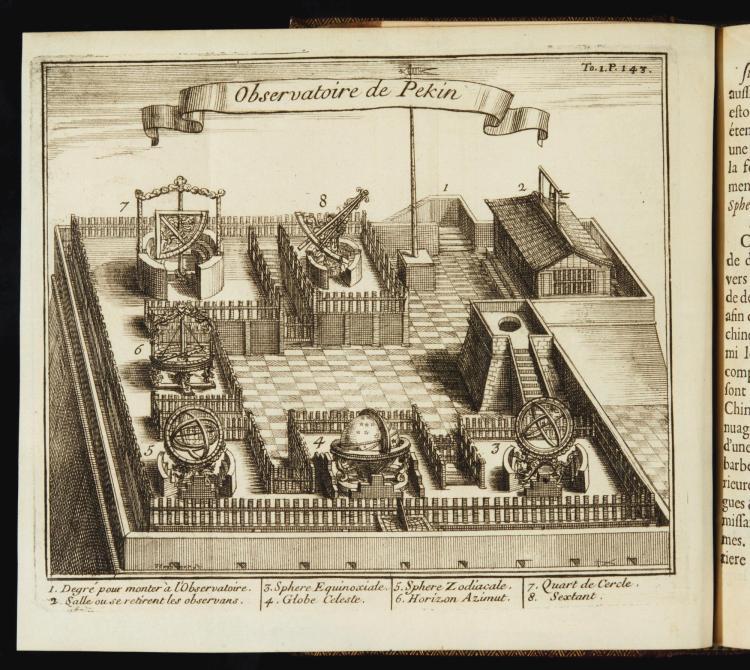 LE COMTE, LOUIS. NOUVEAUX MEMOIRES SUR L'ETAT PRESENT DE LA CHINE. PARIS, 1696, 2 VOLUMES, RED MOROCCO