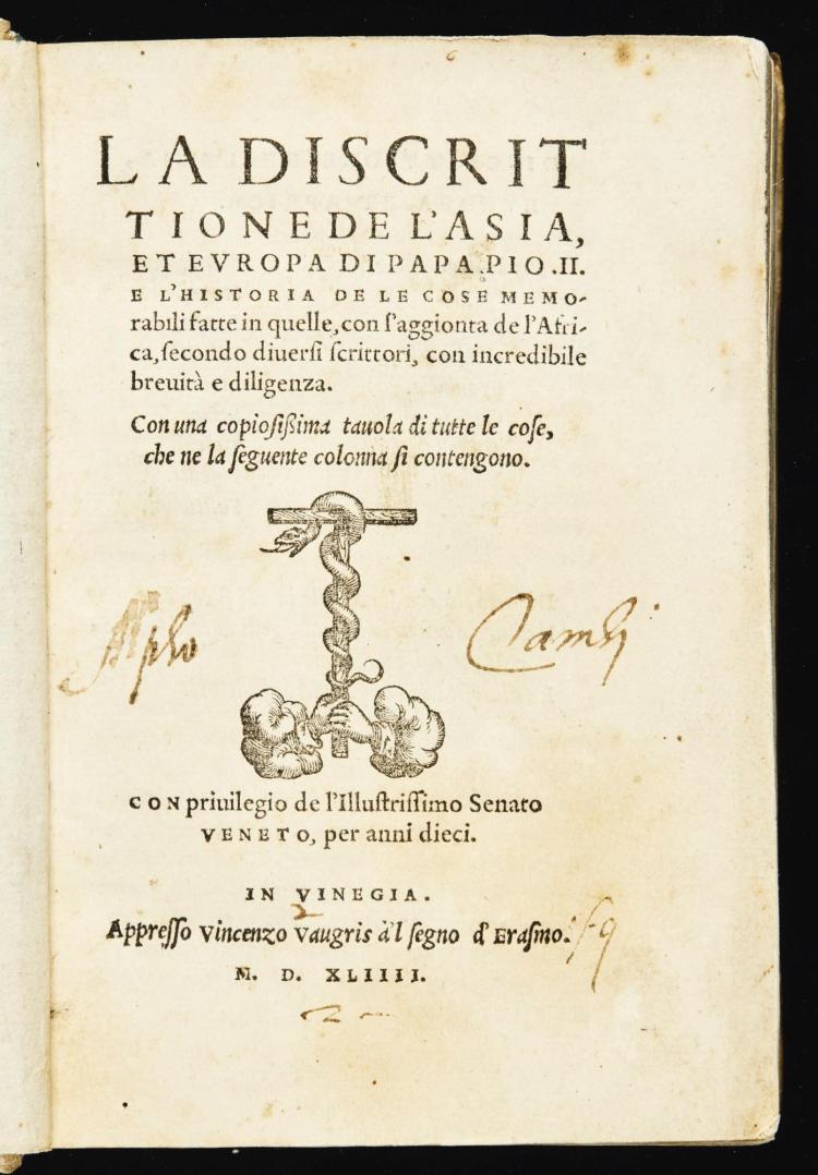 PIUS II. LA DISCRITTIONE DE L'ASIA ET EUROPA. 1544