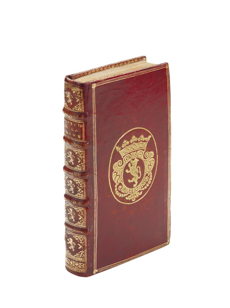 LE GOBIEN, CHARLES. HISTOIRE DE L'EDIT DE L'EMPEREUR DE LA CHINE, PARIS, 1698, RED MOROCCO WITH ARMS OF MME DE MAINTENON