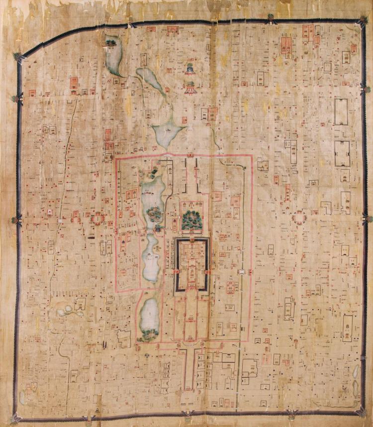 BEIJING MAP, WATERCOLOUR ON SILK (C.1821-1850), 174 X 145CM., FRAMED