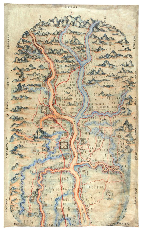 MANUSCRIPT MAP OF SHANGXI PROVINCE. SHANXI SHENG DIYU, 18/19TH CENT.