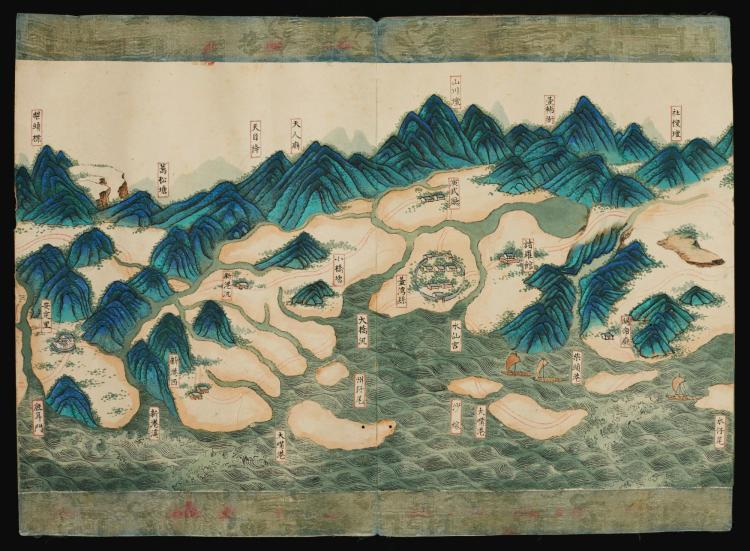 MANUSCRIPT MAP- HAND-PAINTED MAP OF TAIWAN, 1823