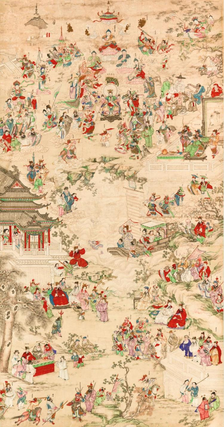 LARGE HANGING SCROLL DEPICTING THE JADE EMPEROR, FIGURES FROM DAOISM, BUDDHISM, CONFUCIANISM AND POPULAR RELIGION.