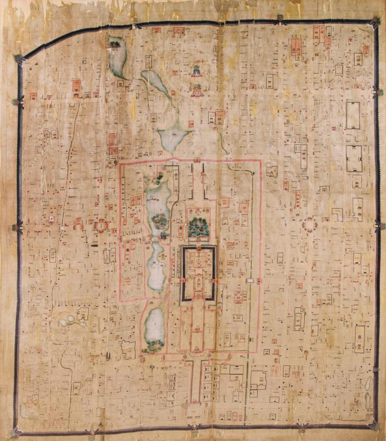 BEIJING MAP, WATERCOLOUR ON SILK (C.1821-1850), 174 X 145CM., FRAMED