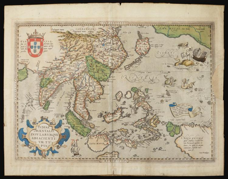 ORTELIUS, ABRAHAM. MAP: INDIAE ORIENTALIS INSULARUMQUE. AMSTERDAM, C. 1590
