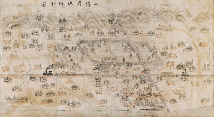 PLAN OF SHANHAIGUAN, INK AND WASH ON SILK [C.1900], 50 X 90CM, FRAMED AND GLAZED