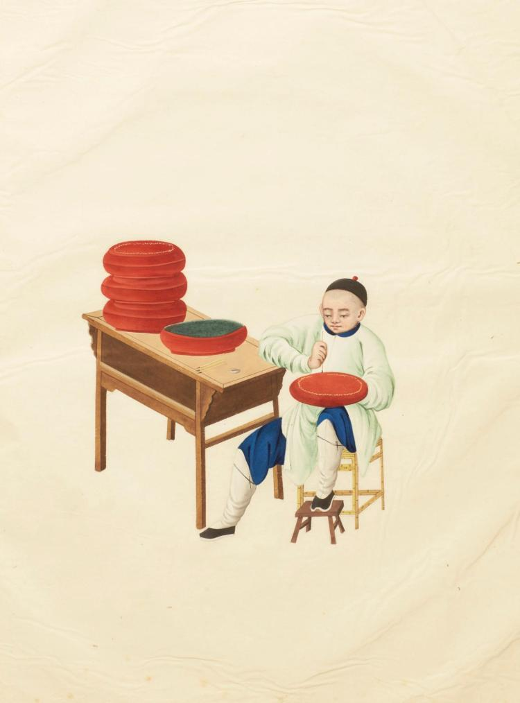 CHINA. ALBUM OF WATERCOLOURS OF TRADES [NINETEENTH CENTURY]