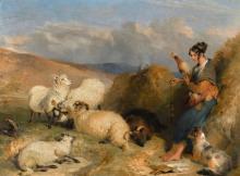 SIR EDWIN HENRY LANDSEER, R.A. | Lassie Herding Sheep