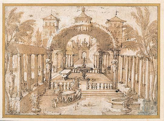 *Lodewyk Toeput, called Pozzoserrato (ca.1550-ca.1603/5) view of the gardens of a palace.  Pen and