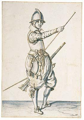 *Jacques de Gheyn II (1565-1629) a soldier transferring his hand to the lower end of the ramrod.