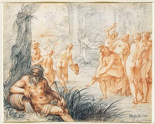 *Johann Rottenhammer (1564-1625) diana and actaeon Signed and dated in black chalk lower right: